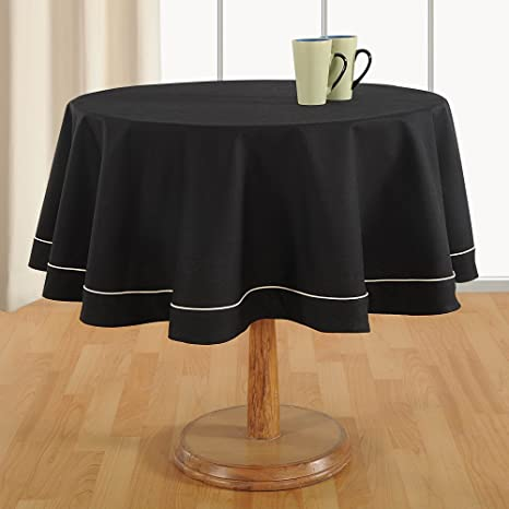 ShalinIndia Black Table Linen U2013 60 Inches In Diameter   4 Seater Round  Tablecloth