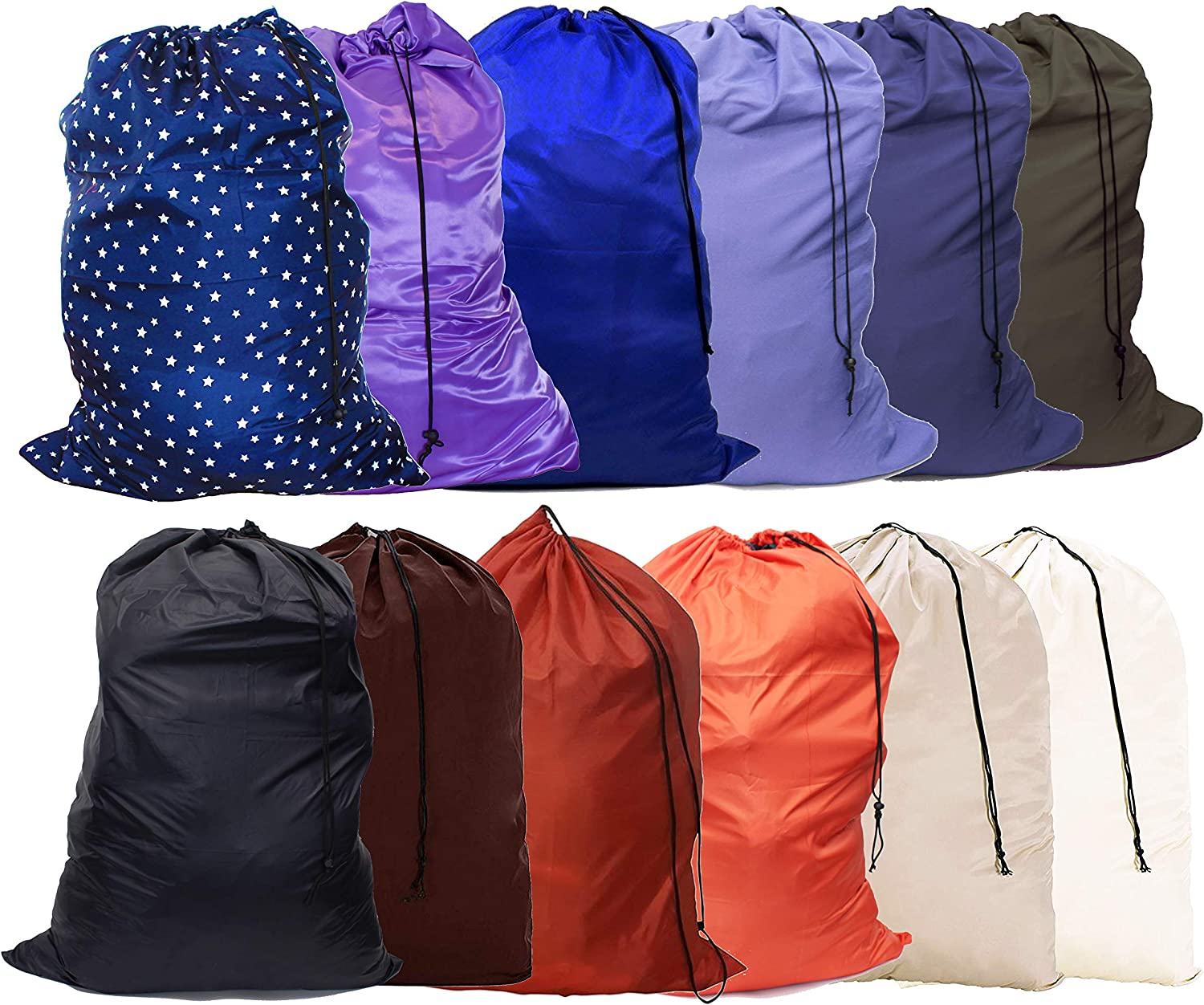 "YETHAN Extra Large Laundry Bag 12 Pack, Travel Laundry Bags with Drawstring Closure, 30""x40"", for College, Dorm and Apartment dwellers."