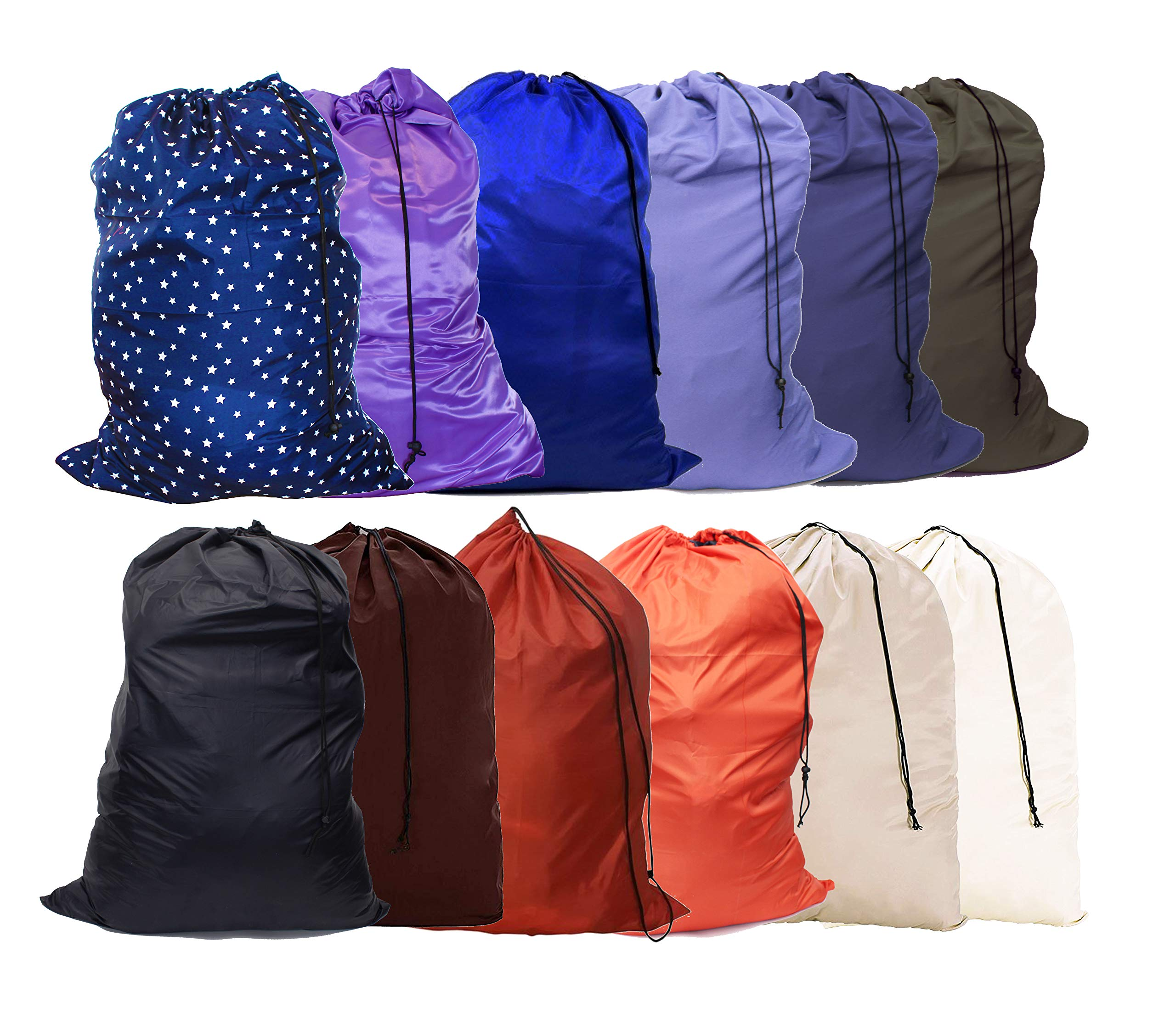 YETHAN Large Laundry Bag 12 Pack, Travel Laundry Bags with Drawstring Closure, 28''x38'', for College, Dorm and Apartment dwellers.