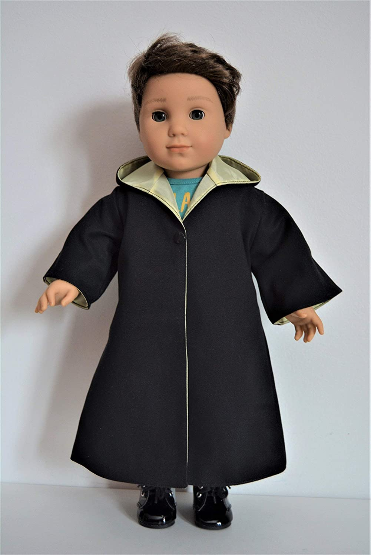 Handmade Wizard School Uniform Costume Cloak Robe Yellow House Color fit 18 American Girl Boy Dolls
