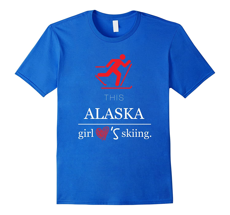 Alaska skiing Tshirt, USA Girl snow mountain ski tee shirt