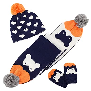a80df1c809609 Kids Baby Knitted Beanie Hat Scarf Mittens 3pcs Set Winter Boys Girls 1-8  Years Double-Layer Crochet Pom Pom Cotton Cap Neckerchief Gloves Cartoon  Penguin  ...