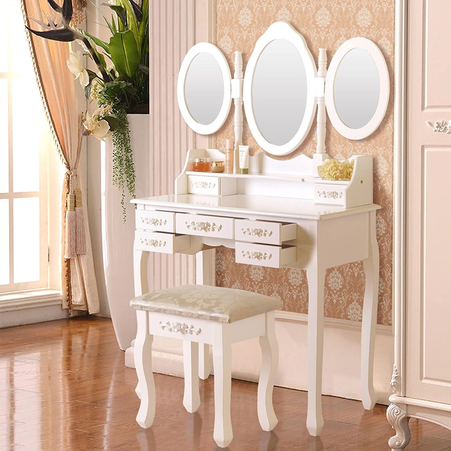 Amazon: Vanity White Makeup Dressing Table Set Wood Desk W/Stool 7  Drawer&Folding Mirror: Kitchen & Dining