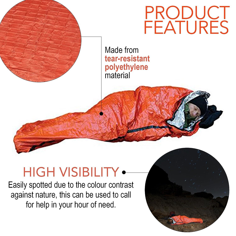 Premium Saco de Dormir de Emergencia, Bivvy - Saco de Dormir de Supervivencia, Supervivencia Impermeable Manta - Aislamiento Térmico - Alta Visibilidad, ...