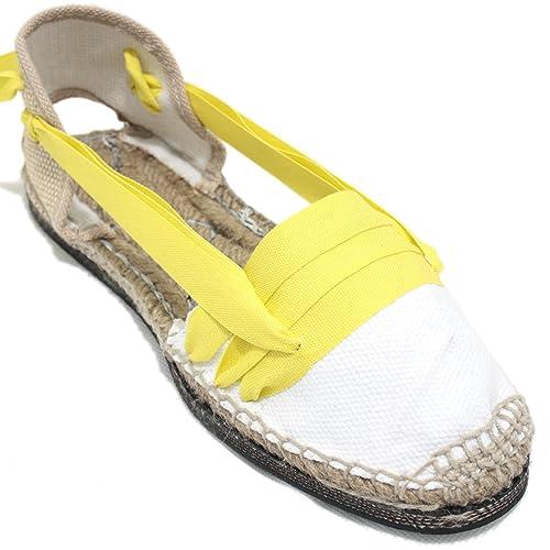 Espardenya.cat Alpargatas Tradicionales Planas Suela de Goma Diseño Tres Vetas o Tabernero Color Amarillo: Amazon.es: Zapatos y complementos