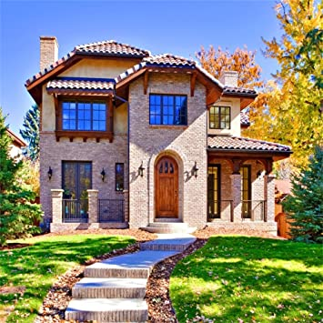 Buy Ofila Front Home Backdrop 5x5ft Luxury Villa Residence Background Brick Wall Green Lawn Fall Season Photography Sidewalk Realestate Yard Shoots Kids Portraits Garden Tea Party Decoration Video Props Online At Low