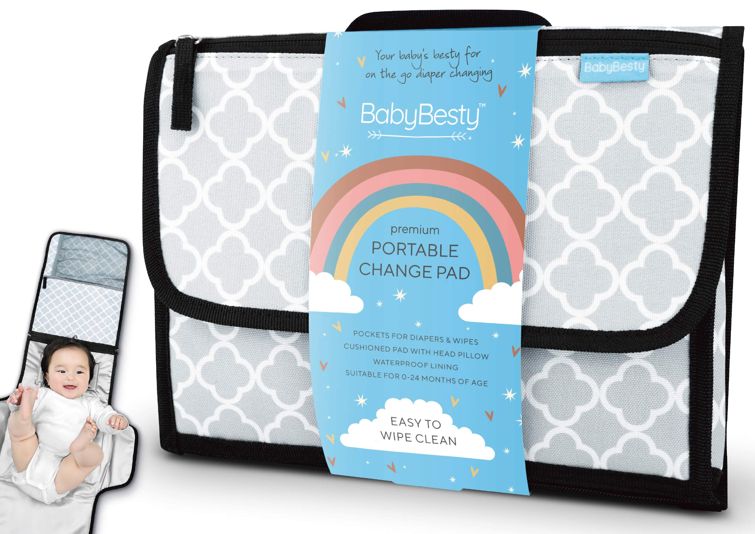 BabyBesty Portable Diaper Changing Pad, 0-24 Months, Gender Neutral Travel Portable Changing Mat, Pockets for Diapers, Wipes, Baby Change Pad & Diaper Clutch, Baby Changing Station, New Mom Gifts by BabyBesty