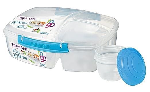 2 L 24.5 x 20 x 9.1999999999999993 cm Caja de Almuerzo Triple pl/ástico Azul//Verde con Recipiente para Yogur Sistema