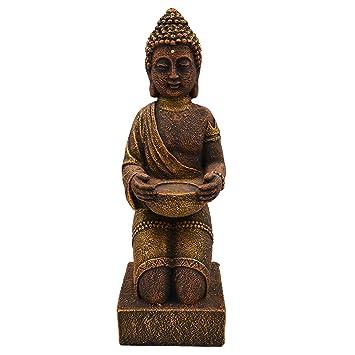 gartendekoparadies.de Massiver Stein Buddha kniend M/önch aus Steinguss frostfest Gold