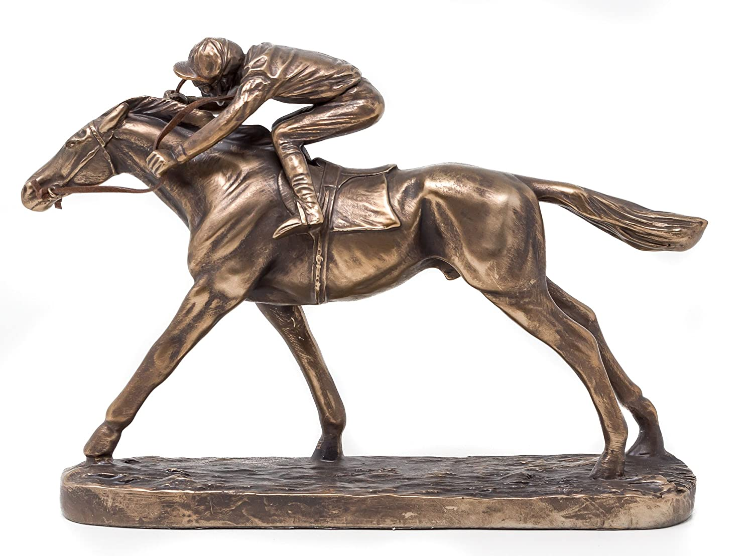 Galloping Racehorse & Jockey Sculpture - Cold Cast Bronze Horse Racing Figurine Artistic Bronze