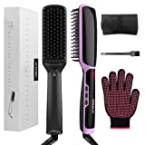 Amazon Price History for:HIRALIY 3 in 1 Ionic Hair Straightening Brush Dual Voltage Ceramic Faster Heating with Heat Resistant Glove (Black)