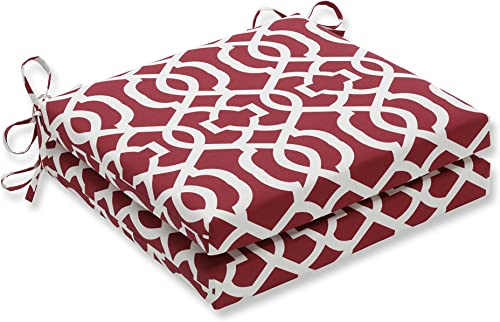 Pillow Perfect Outdoor/Indoor New Geo Red Squared Corners Seat Cushion 20x20x3 Set of 2