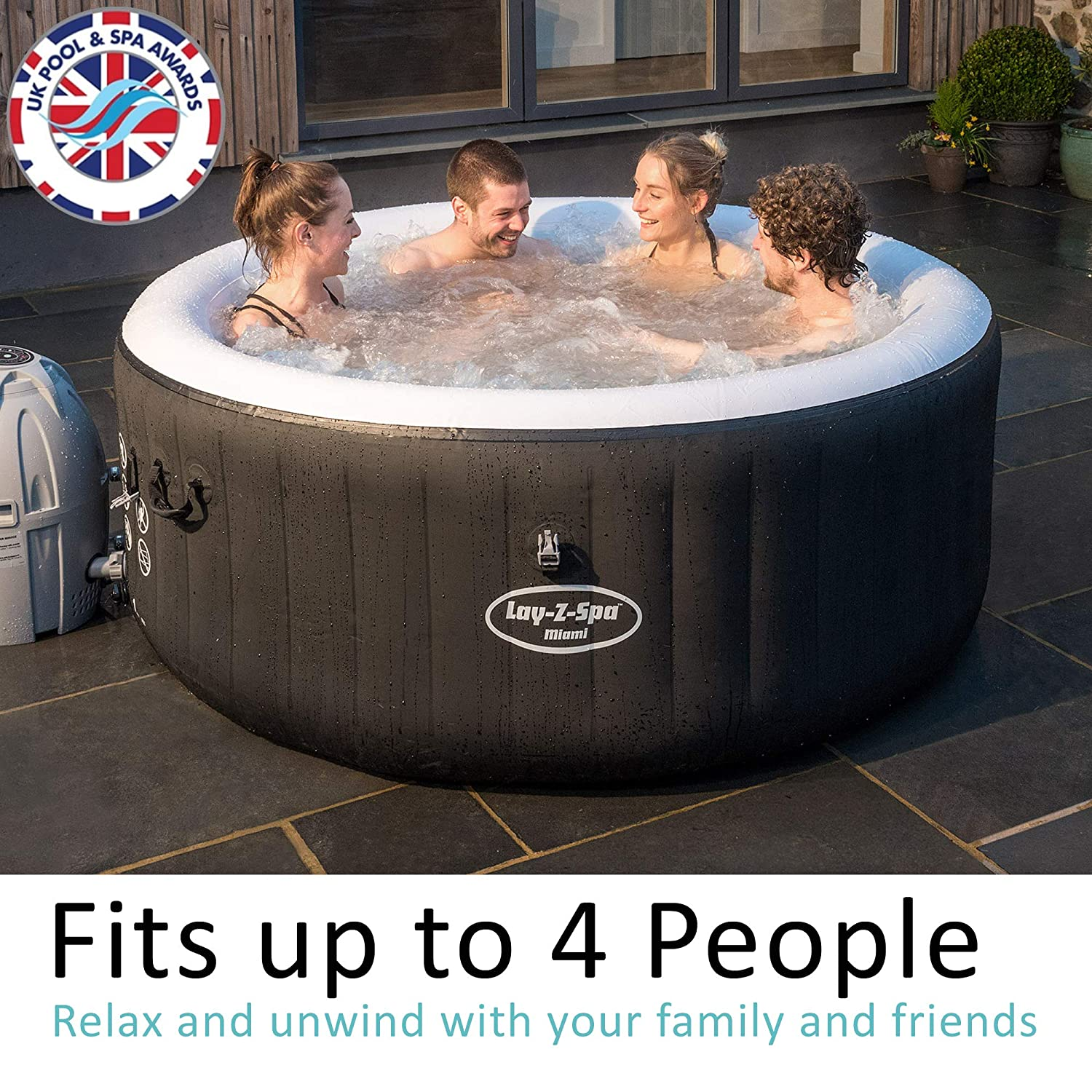 Omtyckta Lay-Z-Spa Miami Hot Tub, AirJet Inflatable Spa, 2-4 Person: Amazon ZU-96
