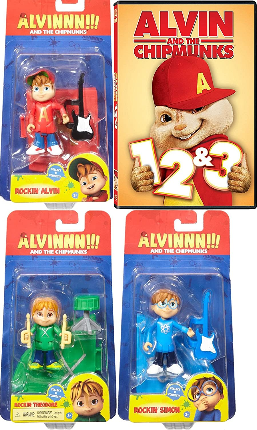 Amazon Com Rockin Alvin Simon Theodore The Chipmunks Figure Movie Pack Dvd 1 2 3 The Squeakquel Road Chip Cartoons Awesome Animated Set Cody Cameron Kris Pearn Jason Lee Walt Becker Movies