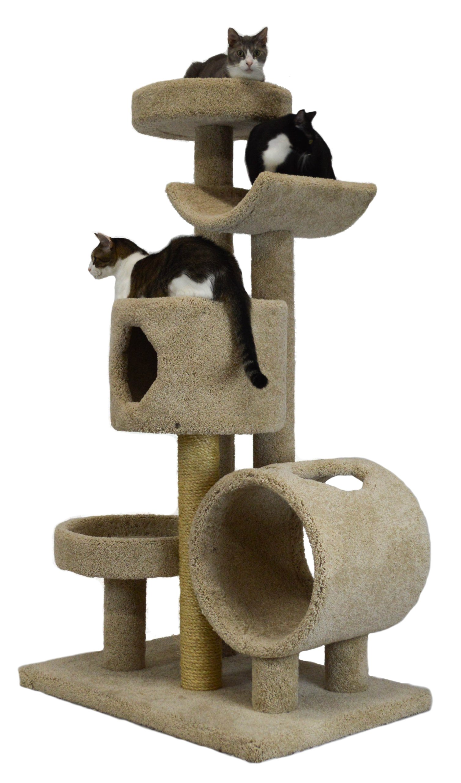 Molly and Friends ''Jungle Gym'' Premium Handmade 5-Tier Cat Tree with Sisal, Model 23L42, Beige