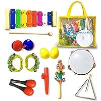 Faxadella - Juego de 16 instrumentos musicales para niños, juego de xilófonos de percusión de juguete para niños con banda de ritmo, instrumentos musicales de tambor para niños con certificado ASTM aprobado por la FDA