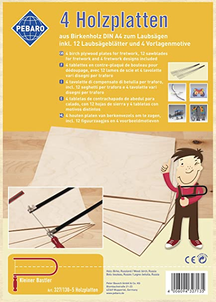 Pebaro 327/130-5 - Planchas de madera para trabajos de sierra de marquetería: Amazon.es: Bricolaje y herramientas