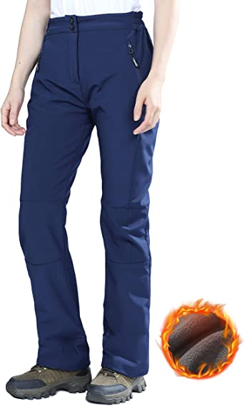 Winter Work Pants Black MIER Womens Insulated Windproof Cargo Pants Outdoor Fleece Lined Hiking Pants with Pockets