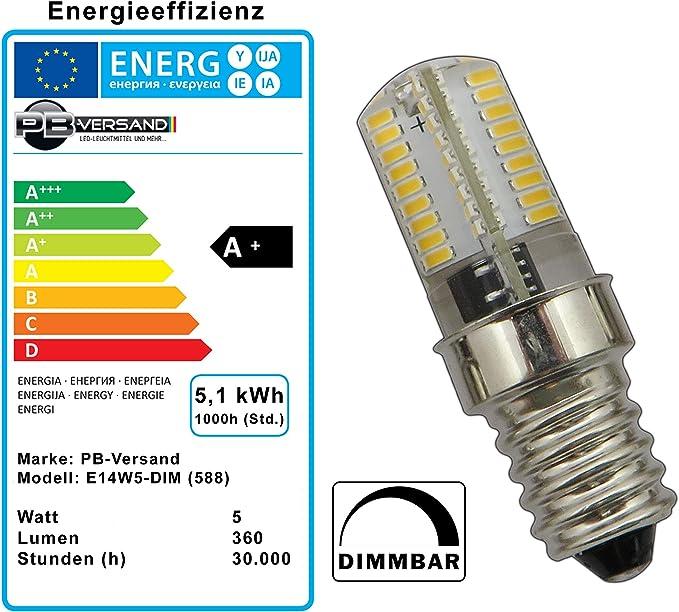 3 bombillas LED E14 de 5 W, luz blanca cálida, intensidad ...