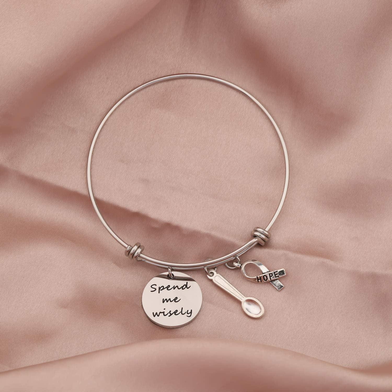 SIDIMELO Funny Gifts Spoonie Keychain Spend Me Wisely Spoon Charm Keychain Chronic Illness Jewelry Chronic Fatigue Self Care Awareness Jewelry