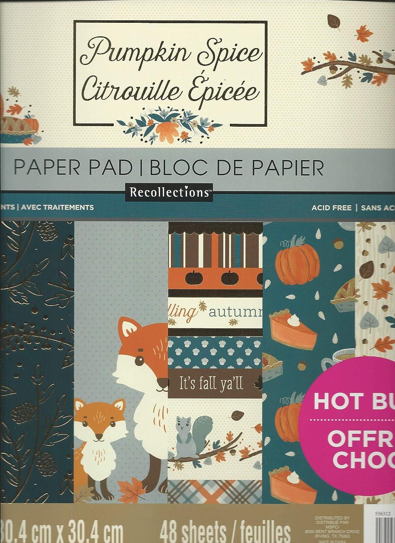 "Spiced Pumpkin 12/"" x 12/"" Paper Pad by Craft Smart,Autumn Scrapbook Paper Fall"