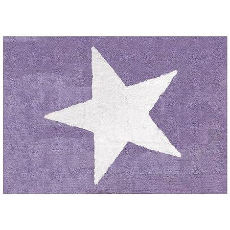 Lilipouce Tapis Enfant Coton Star Girly Fabric Mauve 120x160 Cm