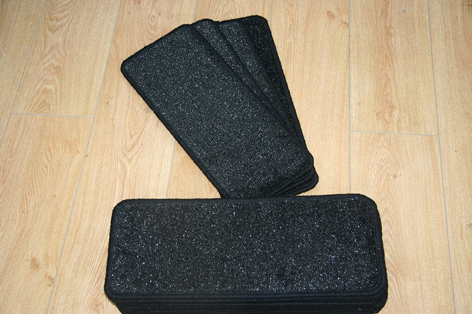 14 Black Glitter Stair Pads Carpet Stair Treads Black Sparkle Pad 8inc x 20inc austins
