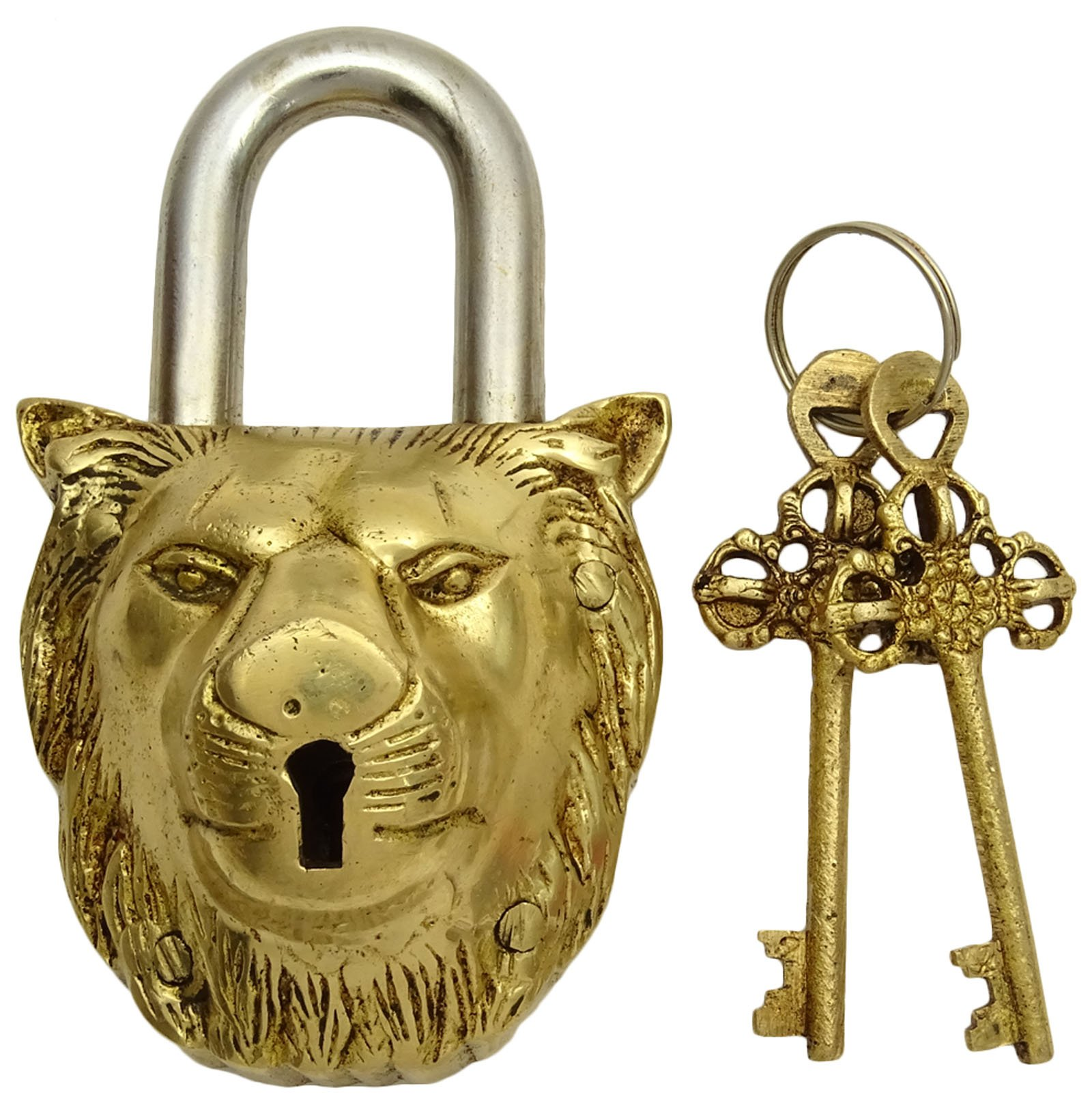 Home Decorative Handcrafted Lion Head Design Brass Metal Padlock With 2 Keys