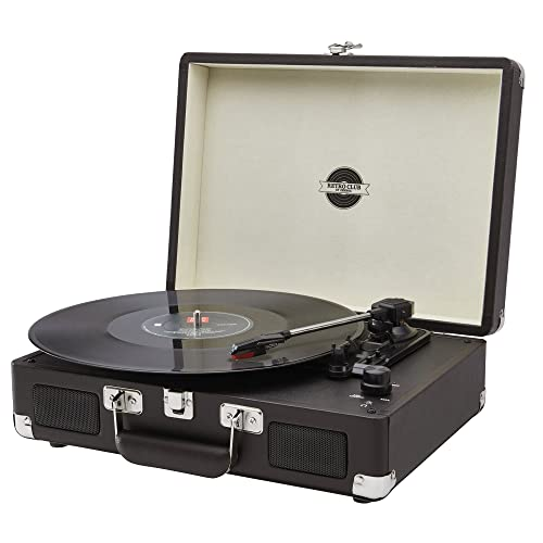 Retro Briefcase Vinyl Record Player, Portable Turntable USB Enabled Deck  With Built In Stereo Speakers