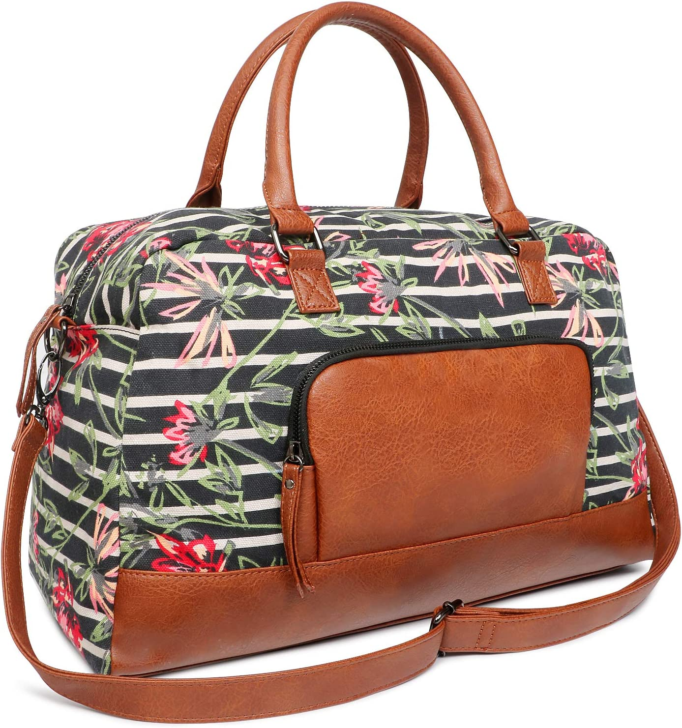 FITMYFAVO Canvas Weekender Tote Bag for Women Floral Stripe Overnight Tote Duffel Bag with Vegan Leather Handle