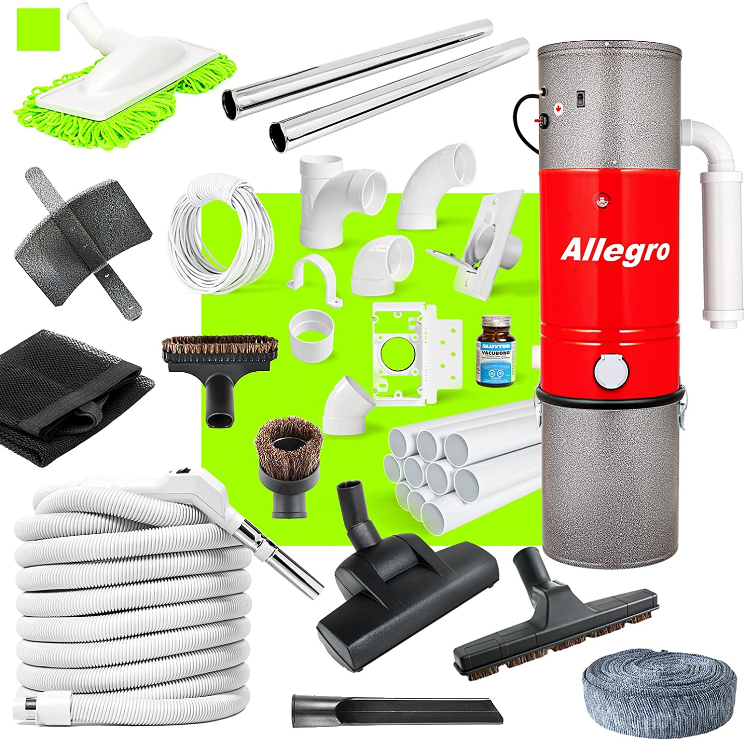 Allegro Central Vacuum Complete Air Package with Unit 3 Inlet Kit & 80 ft Pipe