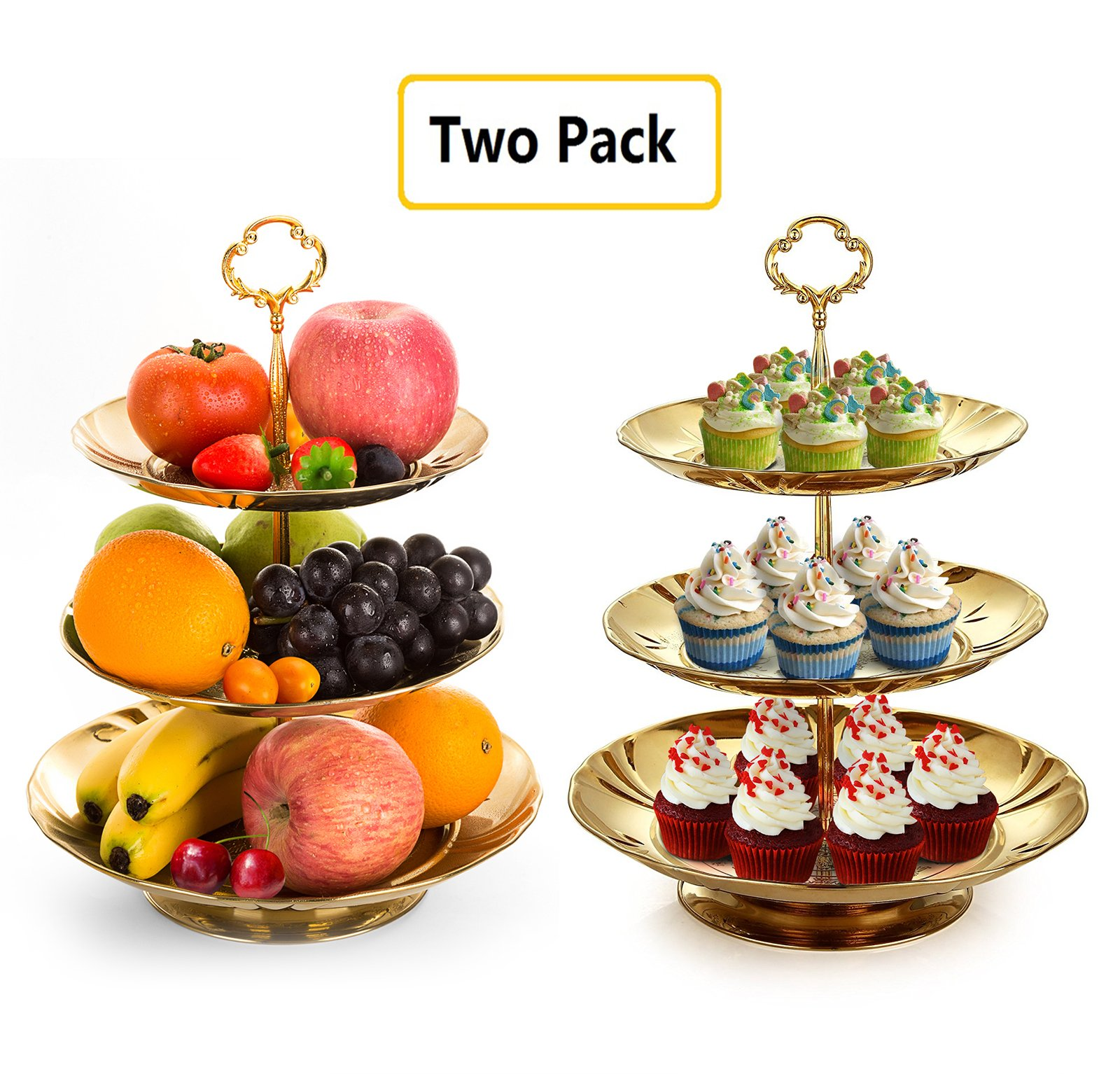 Two Set of Three Tier Cake Stand and Fruit Plate by Imillet -Stainless Steel Stand of Golden for Cakes Desserts Fruits Candy Buffet Stand for Wedding &Home&Party Serving Platter (2 pack)