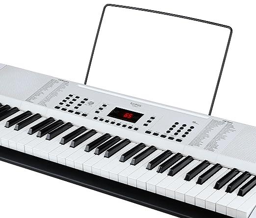 funkey 00038126 61-son edition keyboard 128, 128 rythmes, 10 demo de chanson, bloc d alimentation, pupitre noir
