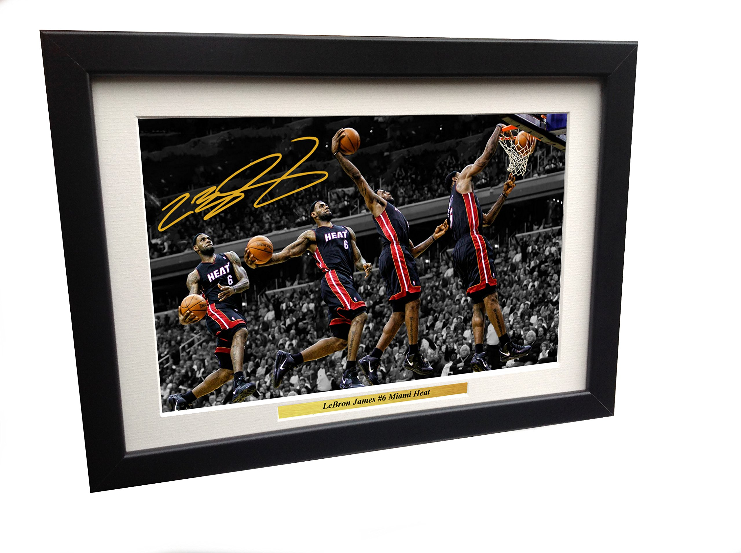 LeBron James #6 Miami Heat 12x8 A4 Signed - Basketball Autographed Photo Photograph Picture Frame NBA Gift Ref:1 by Kicks