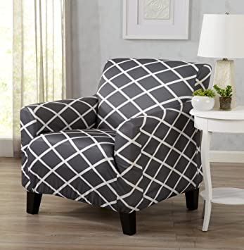 Strapless Stretch Printed Slipcover Chair Cover, Stain And Spill Resistant.  Tori Collection By Great