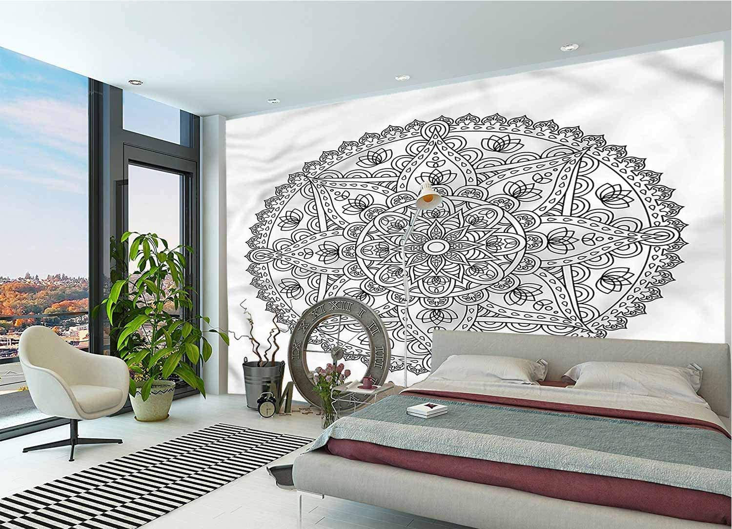 LCGGDB Lotus Wall Stickers Murals,Round Boho Motif Design Paperhanging Wallpaper for Office Livingroom Girls Bedroom Family Wall Decals-144x100 Inch