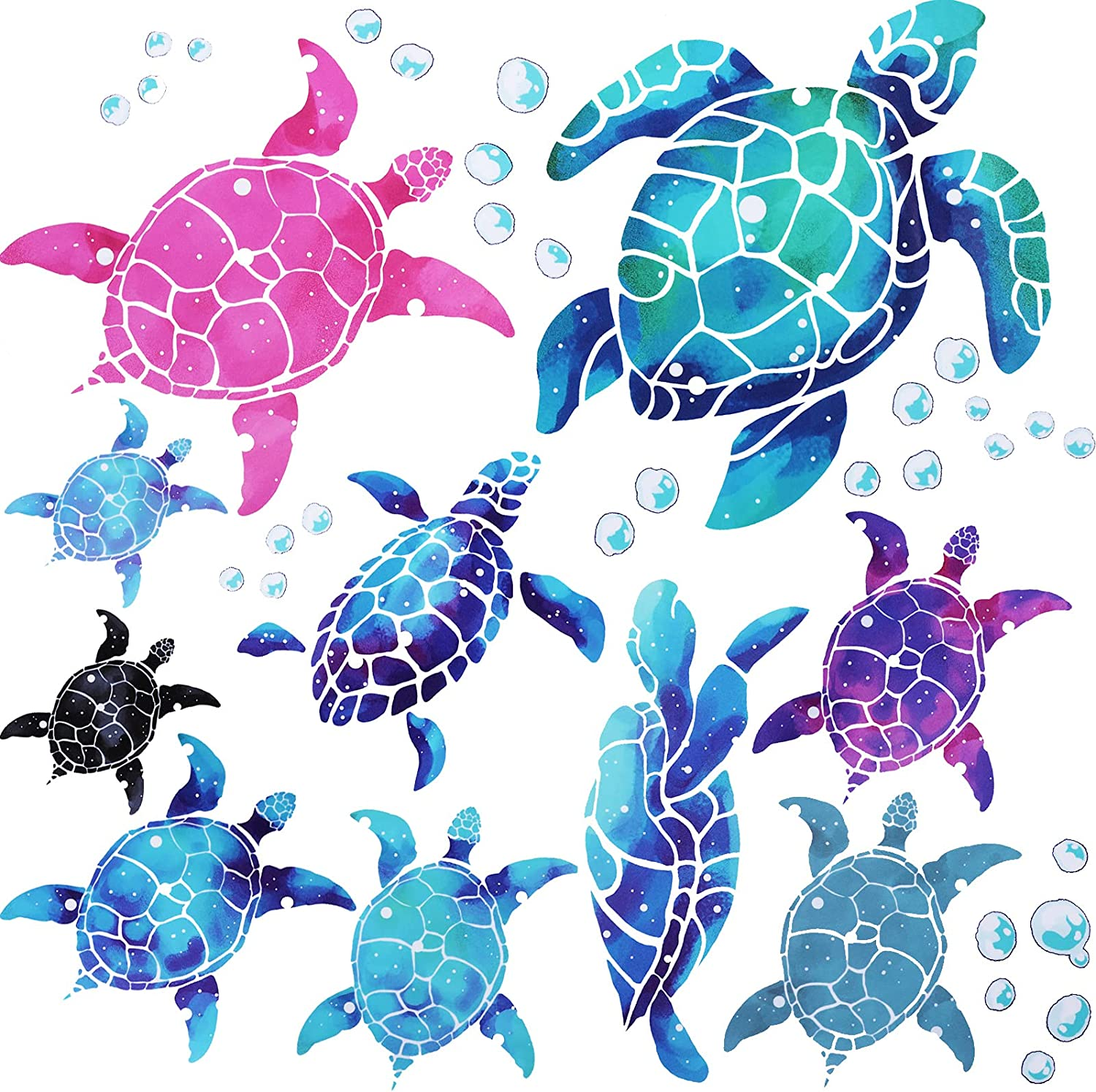 20 Pieces Sea Turtle Wall Decals Removable Turtle Wall Stickers Undersea Bubble Turtle Wall Decor Ocean Themed Bathroom Decor PVC Wall Decoration for Kids Room Living Room Bathroom Home Toilet
