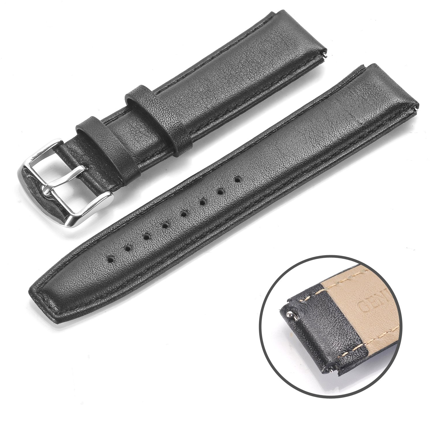 Rerii Huawei Watch Band Strap 18mm Width, Quick-Release, Leather Band, Strap for Huawei Smart Watch, Huawei Fit Watch