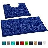 LuxUrux 浴室地毯 - 超软毛绒浴淋浴浴室地毯,2.54 厘米雪尼尔超细纤维材料,热塑性橡胶表面,*吸收。 机洗并晾干 深蓝色 Curved Set unknown