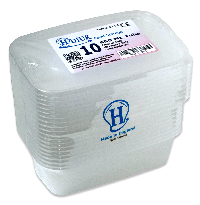 10 x micro-ondes Grand 650ml / Congélateur Coffre boîtes à lunch en plastique / récipients alimentaires + Couvercles pour cuisiner les plats préparés par lots, Chilli, pâtes, riz