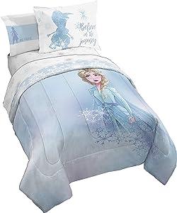 Jay Franco Disney Frozen 2 Elsa Color Block 7 Piece Full Bed Set - Includes Reversible Comforter & Sheet Set Bedding - Super Soft Fade Resistant Microfiber - (Official Disney Product)