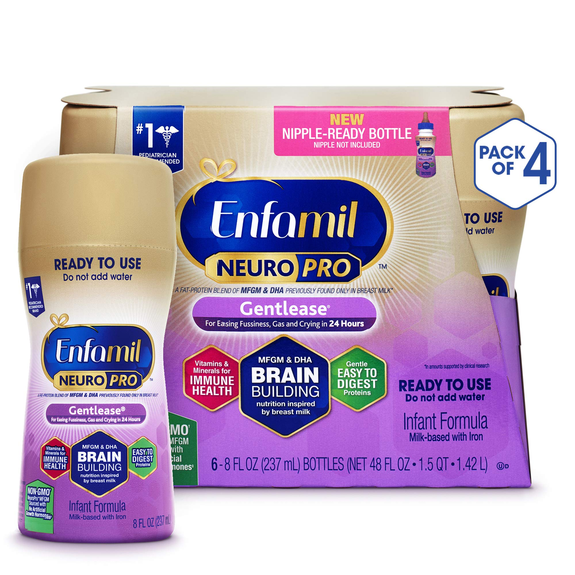 Enfamil NeuroPro Gentlease Ready to Feed Baby Formula Milk, 8 fluid ounce (24 count) - MFGM, Omega 3 DHA, Probiotics, Iron & Immune Support