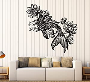 Vinyl Wall Decal Golden Fish Aquarium Lotus Flower Asian Style Stickers Large Decor (1116ig) Flame Red