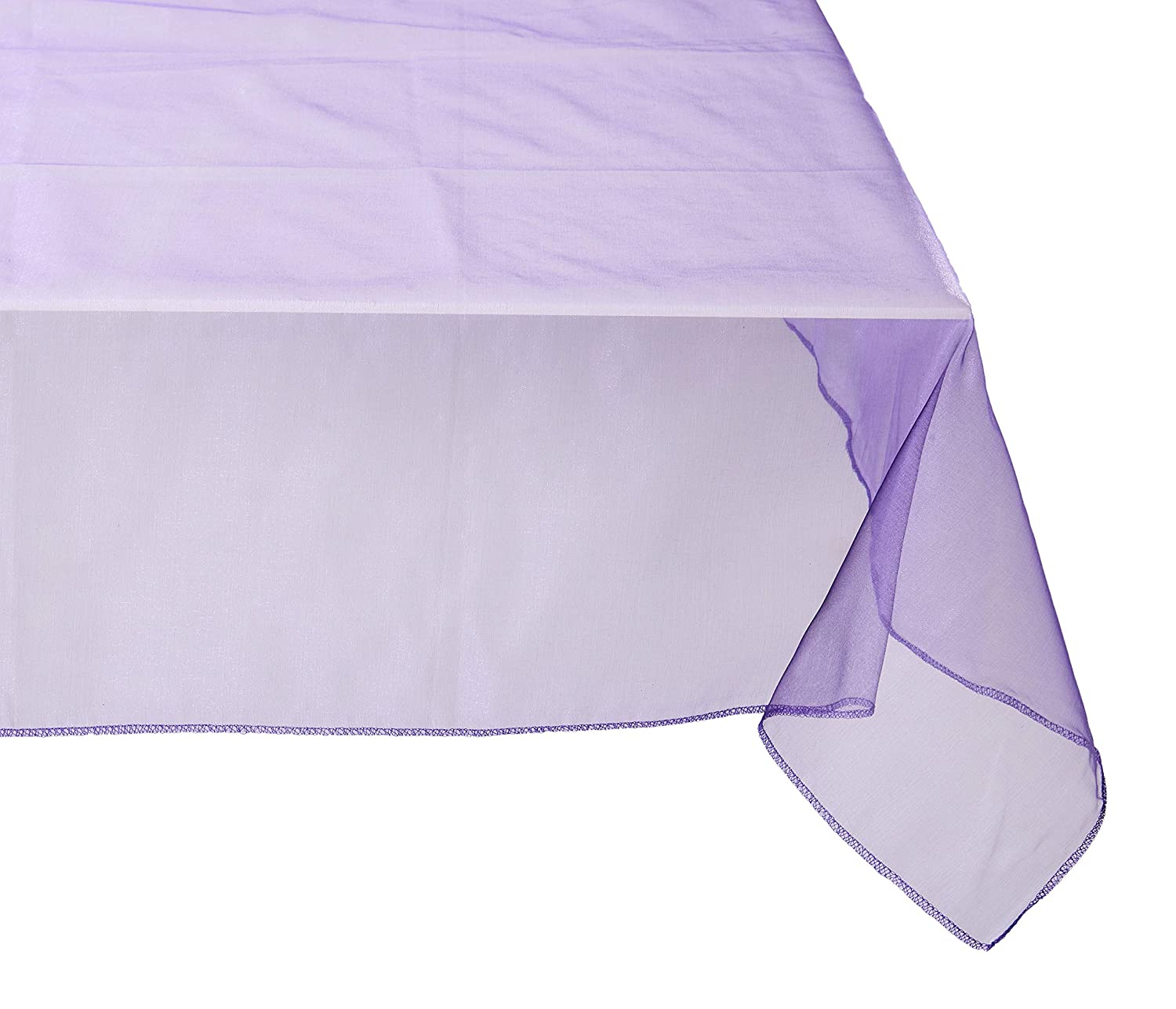 LinenTablecloth 72-Inch Square Organza Overlay White 72OVR-080101