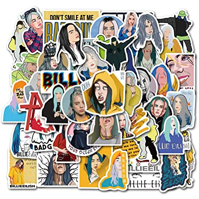 Singer Billie Eilish Stickers Waterproof Durable Trendy Vinyl Laptop Decal Stickers Pack for Kids Laptop Skateboard Toy Stickers (Billie Eilish): Computers & Accessories