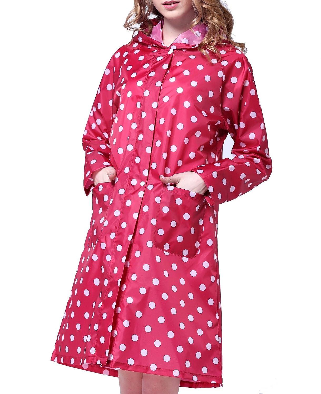 Gabardina impermeable de lunares para mujer, chubasquero, poncho, abrigo impermeable con puntos, color azul, tamaño talla única