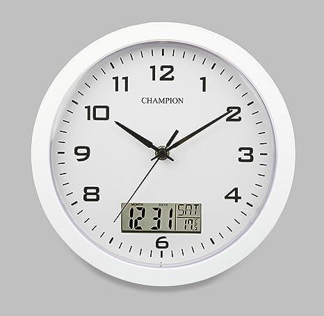 a19410de1d4c55 Champion - Orologio da parete, 25 cm, con fessure per display LCD con giorno