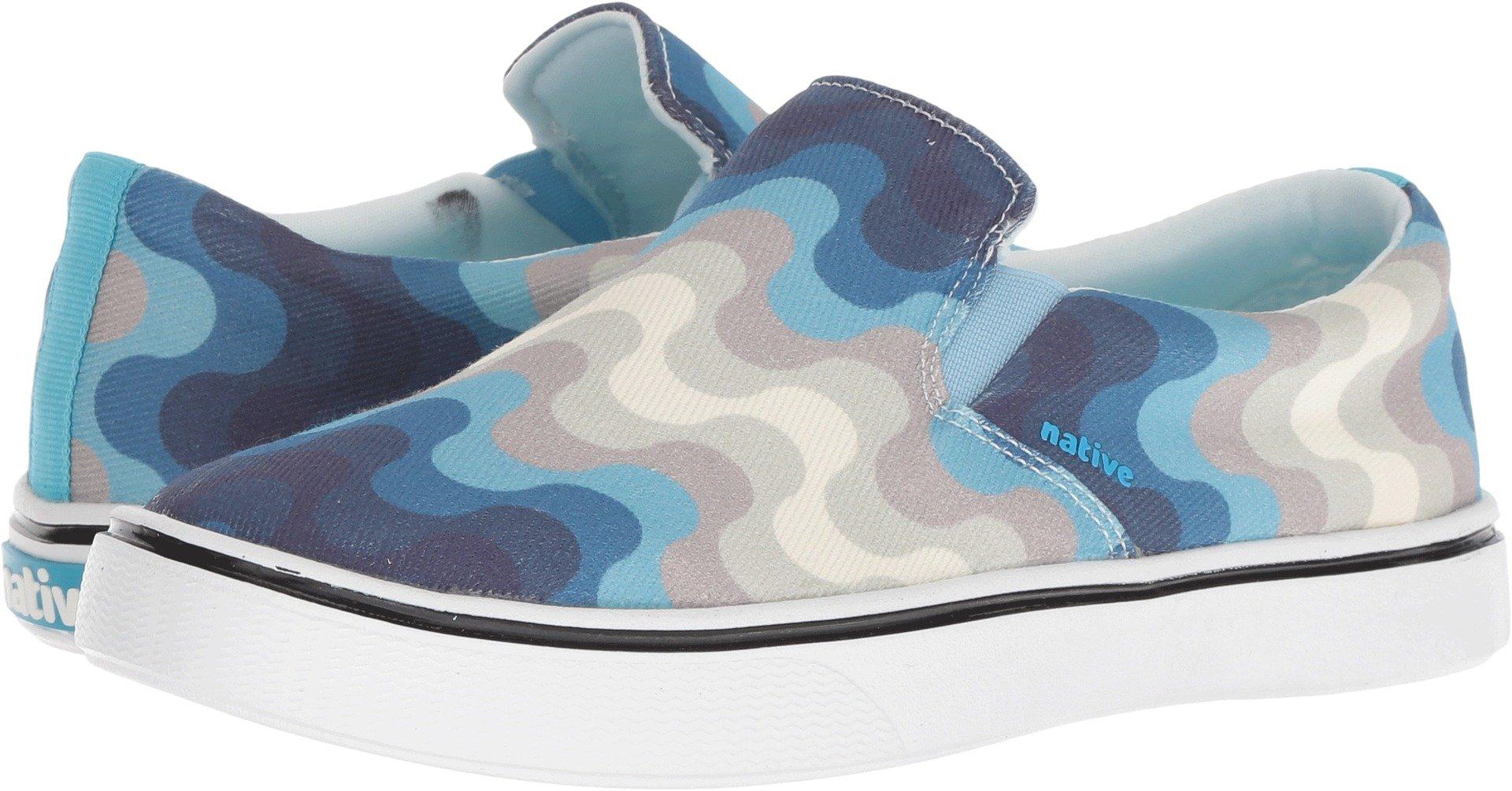 native Shoes Unisex Miles Denim Print White Wash/Shell White/Surfer Wave 9 Women/7 Men M US