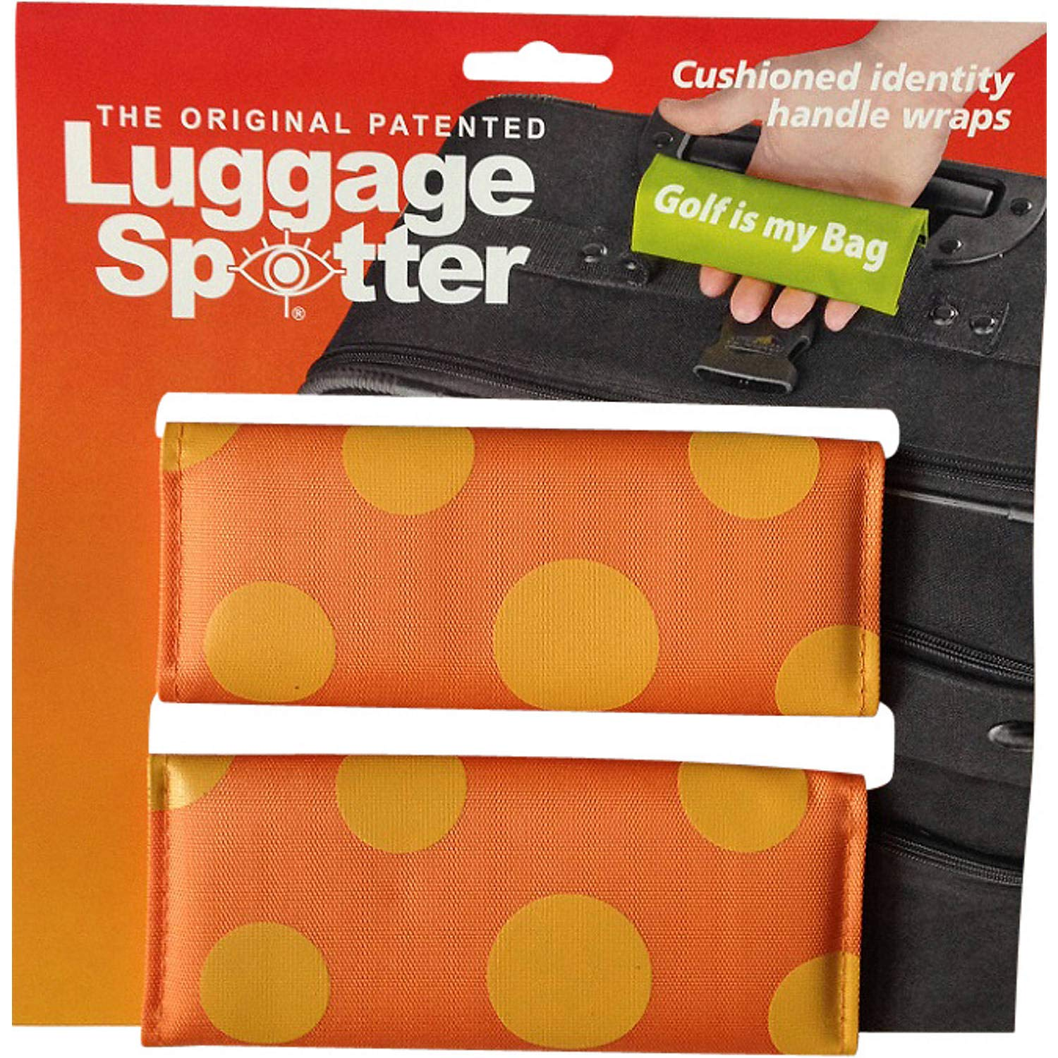 ORANGE POLKA DOT Luggage Spotter Luggage Locator/Handle Grip/Luggage Grip/Travel Bag Tag/Luggage Handle Wrap (2-pack) – CLOSEOUT! ALMOST GONE!