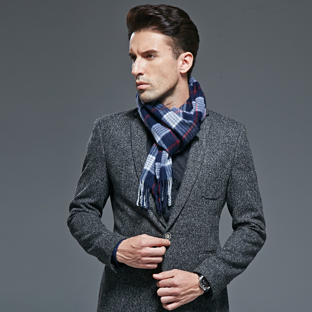 European and American fashion men's cashmere wool scarf scarf warm thickening